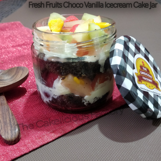 Fresh Fruits Choco Vanilla Ice Cream Cake Jar