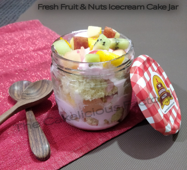 Fresh Fruits & Nuts Ice Cream Cake Jar