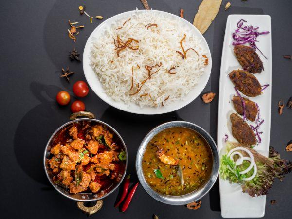 Rice With Talawa Gosht/Shami & Khatti Dal