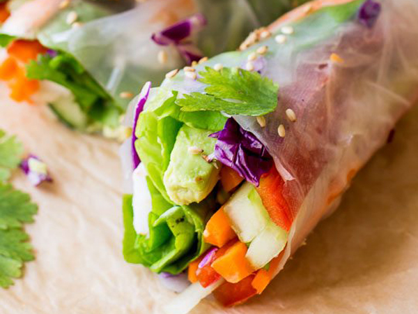 Vietnamese  Prawn  Rice Paper Rolls  12 pcs.(served with a Thai sweet chilli sauce and a peanut Hoisin Sauce