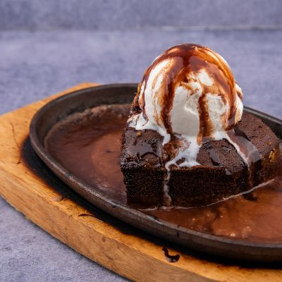 Hot Chocolate Brownie with Ice Cream