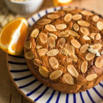 Eggless Orange Almond Cake