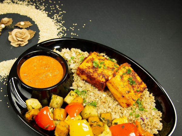 Peri - Peri Paneer and quinoa and roasted vegetables