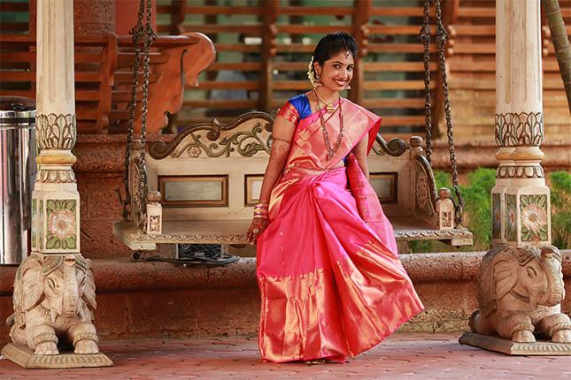 Malayalee bride in Kanjivaram saree