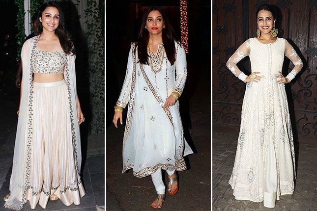 Bollywood celebrities in white Indian oufits
