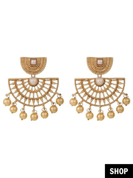 Objective Indian Ethnic Gold Tone Pearl Beads Chand Bali Earring Wedding Jewelry Beautiful And Charming Jewellery & Watches Costume Jewellery