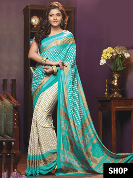 Image result for light printed and elongated saree