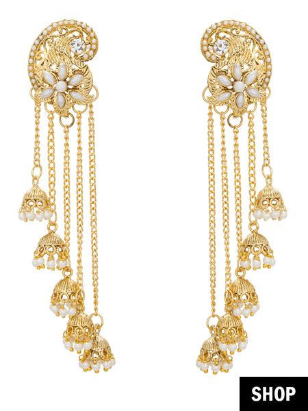 35e770d4b Adorned with varied length of chains, this dainty Chandelier pair of  earrings is a definite ...