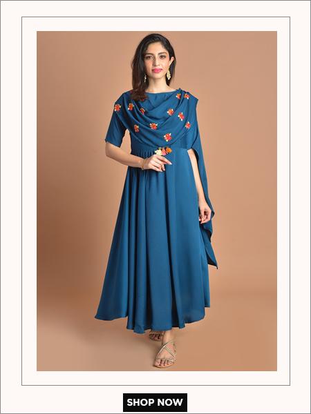 teal cowl dress