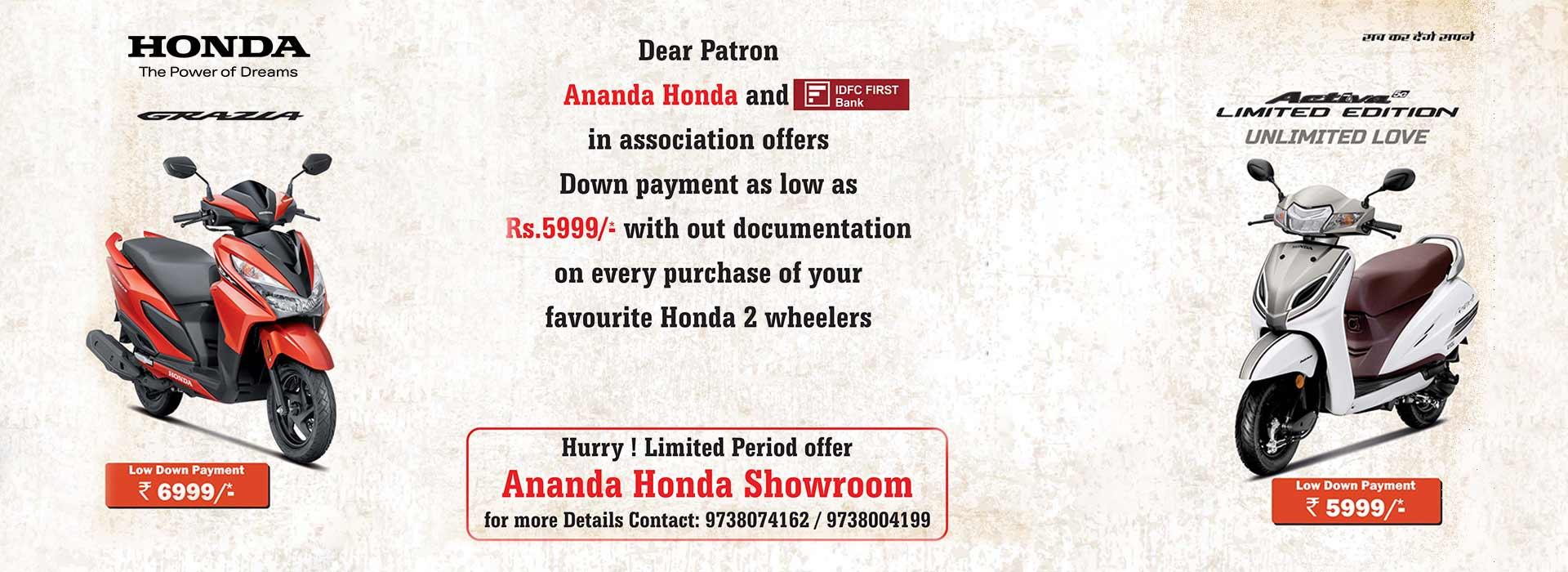 Ananda Honda: Authorized bike dealership serving and servicing in