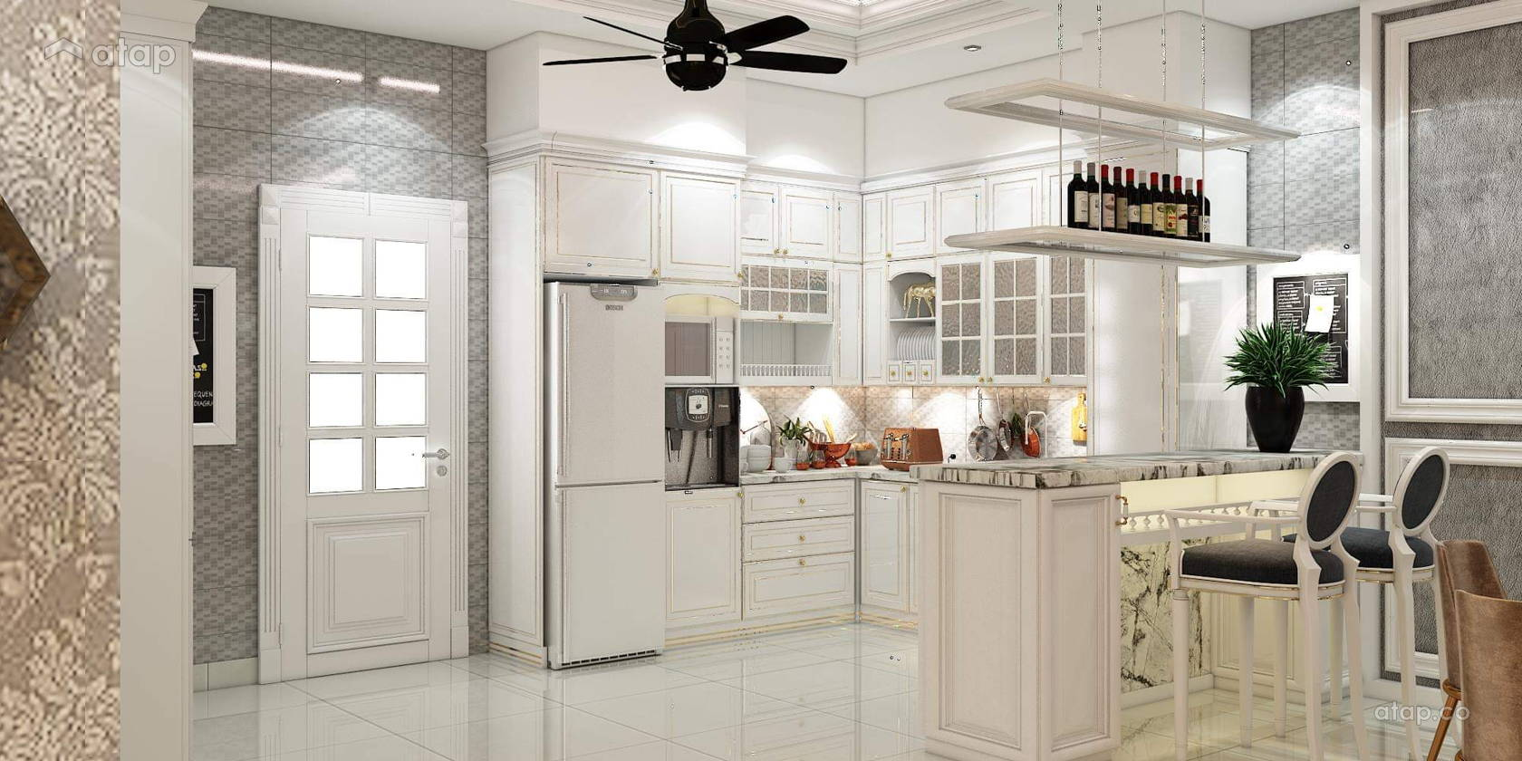 Modern Retro F&B Kitchen semi-detached design ideas & photos ...