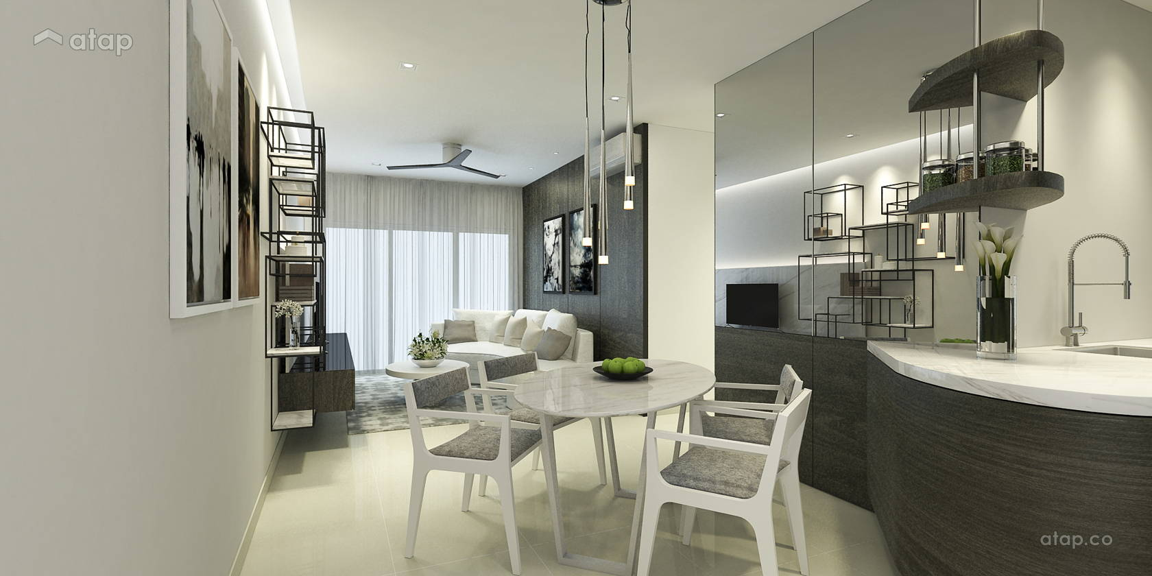 Contemporary Minimalistic Dining Room Kitchen @ Altimas Apartments_Type A, B & D1