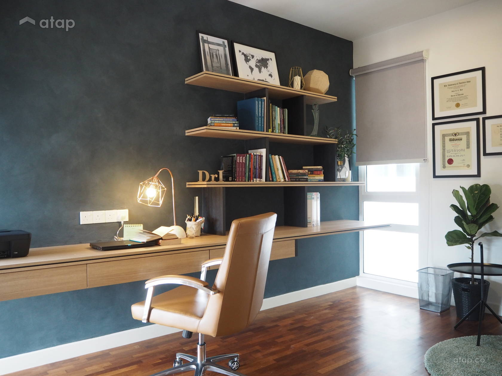 Industrial Modern Study Room condominium design ideas ...