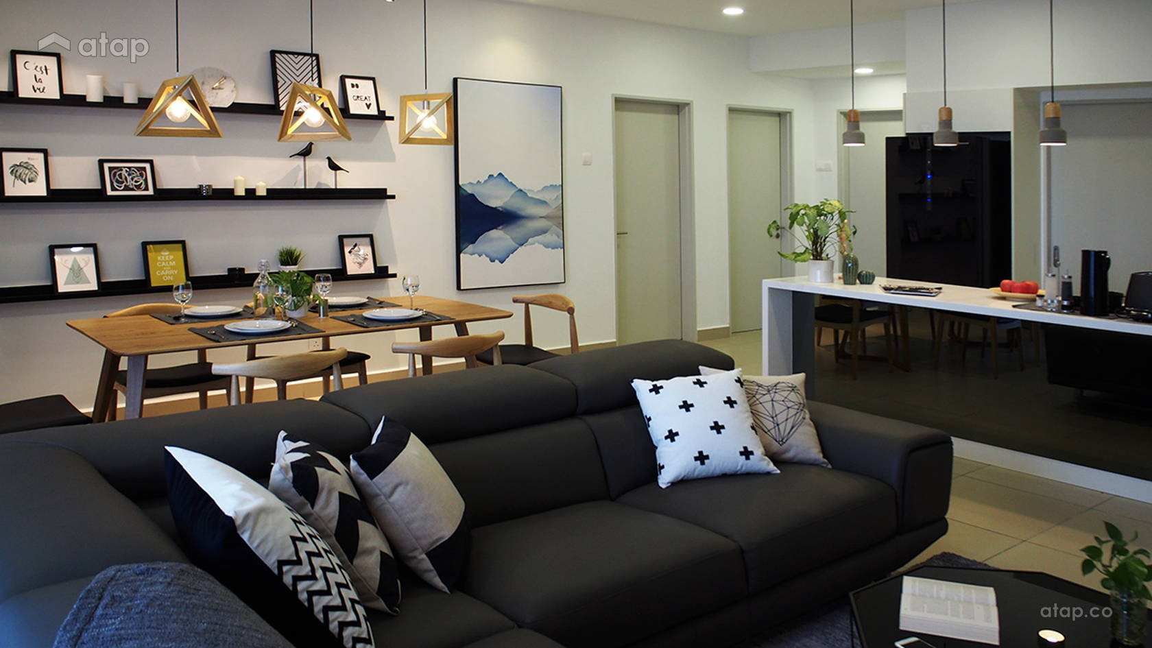 Minimalistic Scandinavian Dining Room Living Room @ J + S Residence