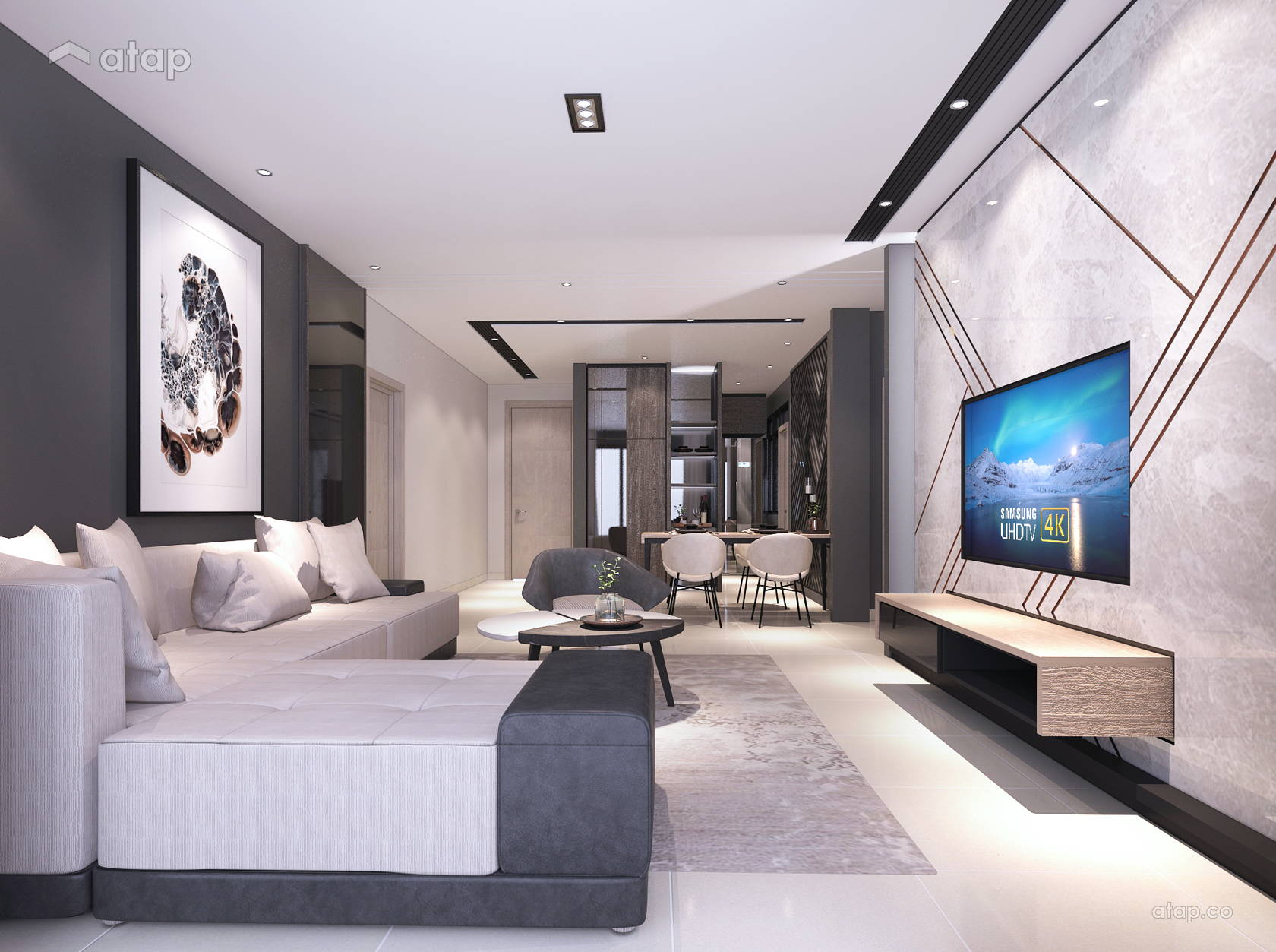 Contemporary Modern Living Room @ Green Residence Condo @ Cheras