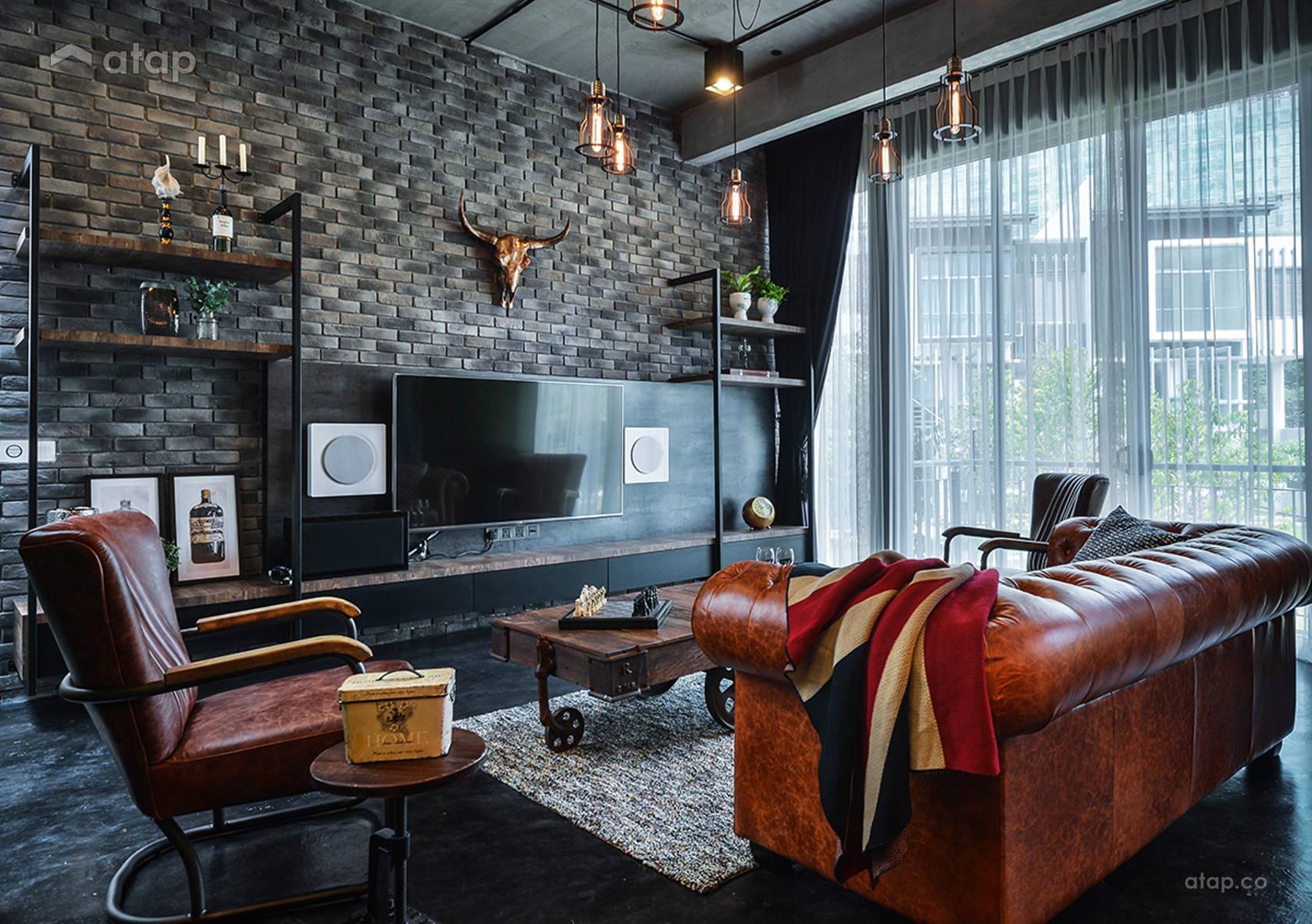 Industrial Rustic Living Room @ 3 storey- Symphony Hill, cyberjaya