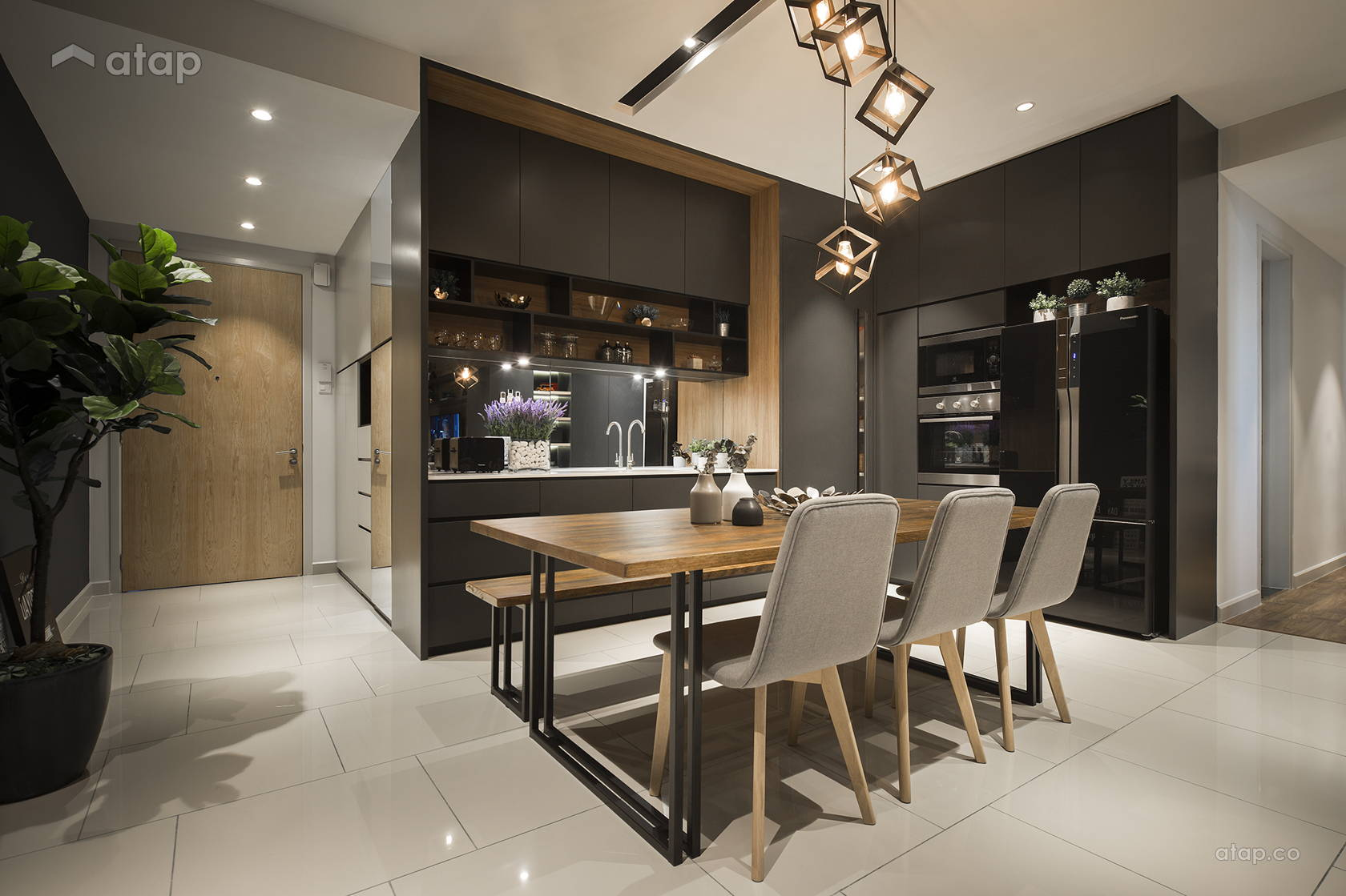 Contemporary Modern Dining Room Kitchen condominium design ...