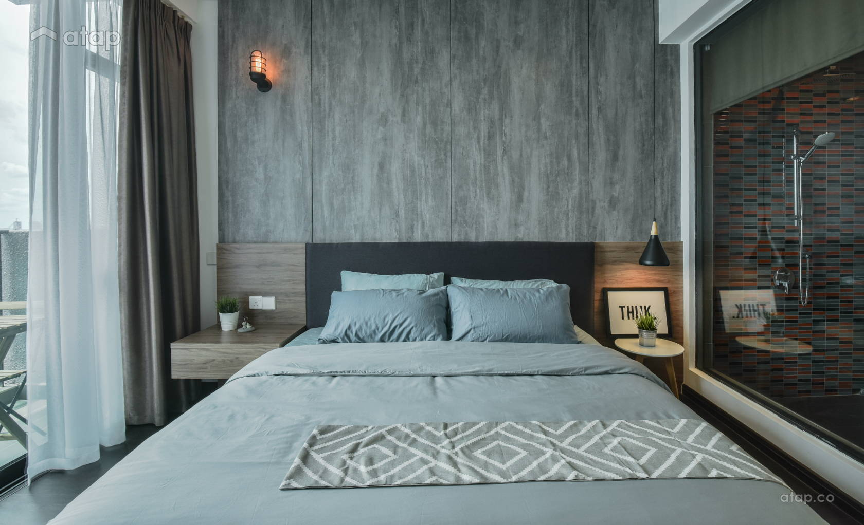 Industrial Minimalistic Bedroom @ The Leafz Condominium