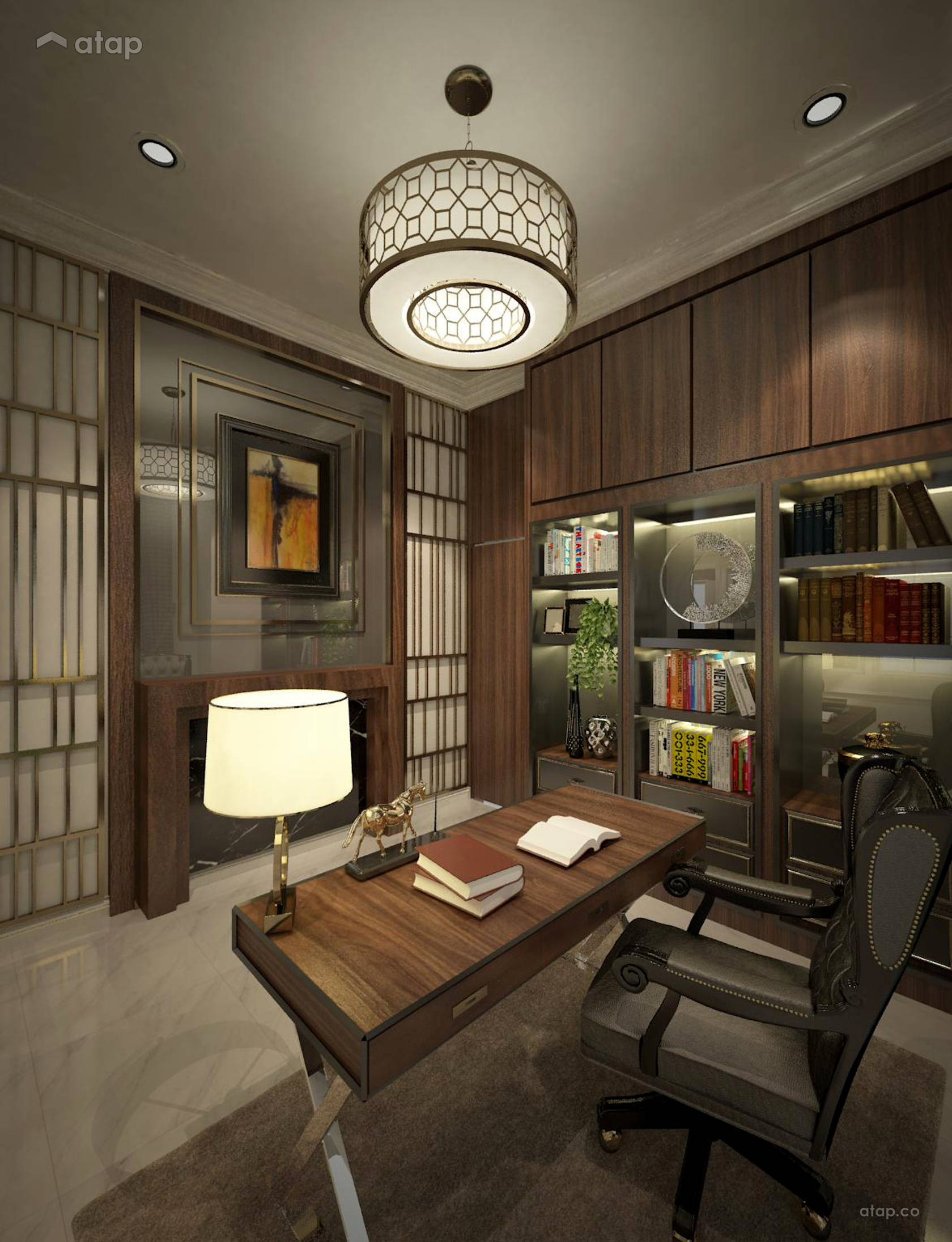 Study Room Design: Classic Study Room Bungalow Design Ideas & Photos Malaysia