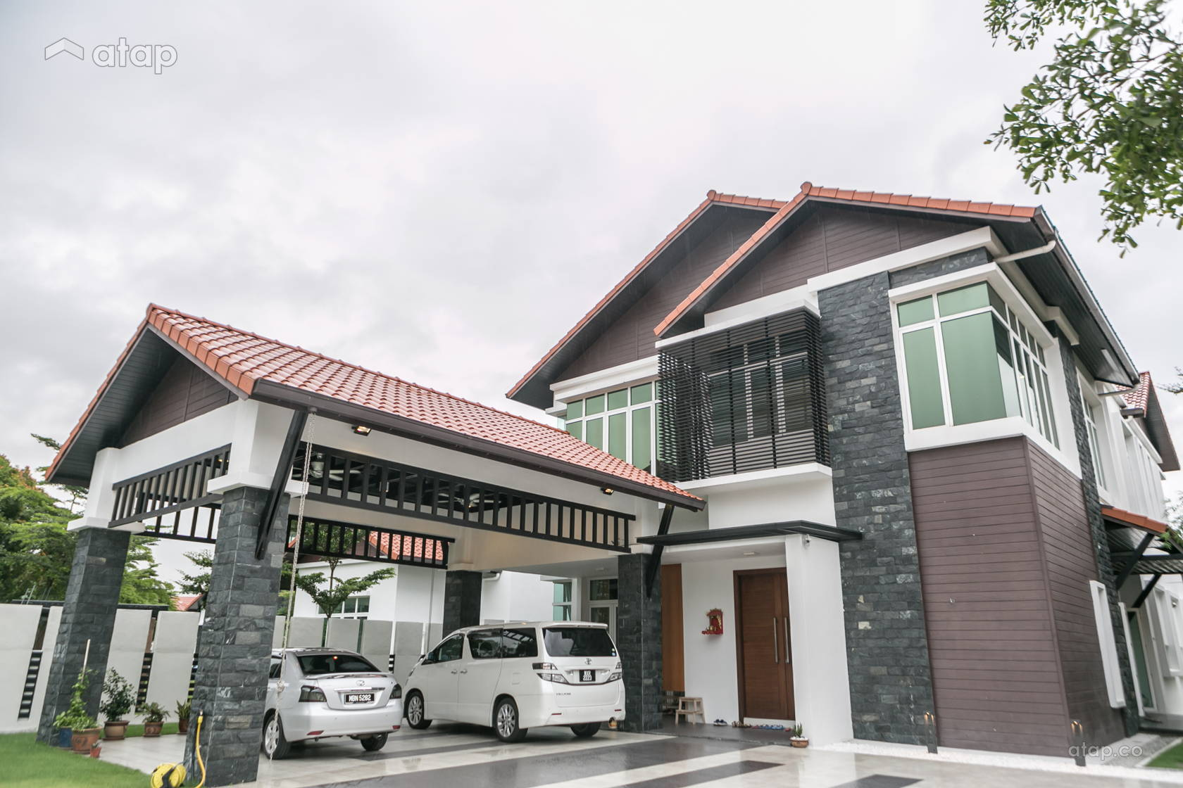 Classic Contemporary Exterior Bungalow Design Ideas Photos Malaysia Atap Co