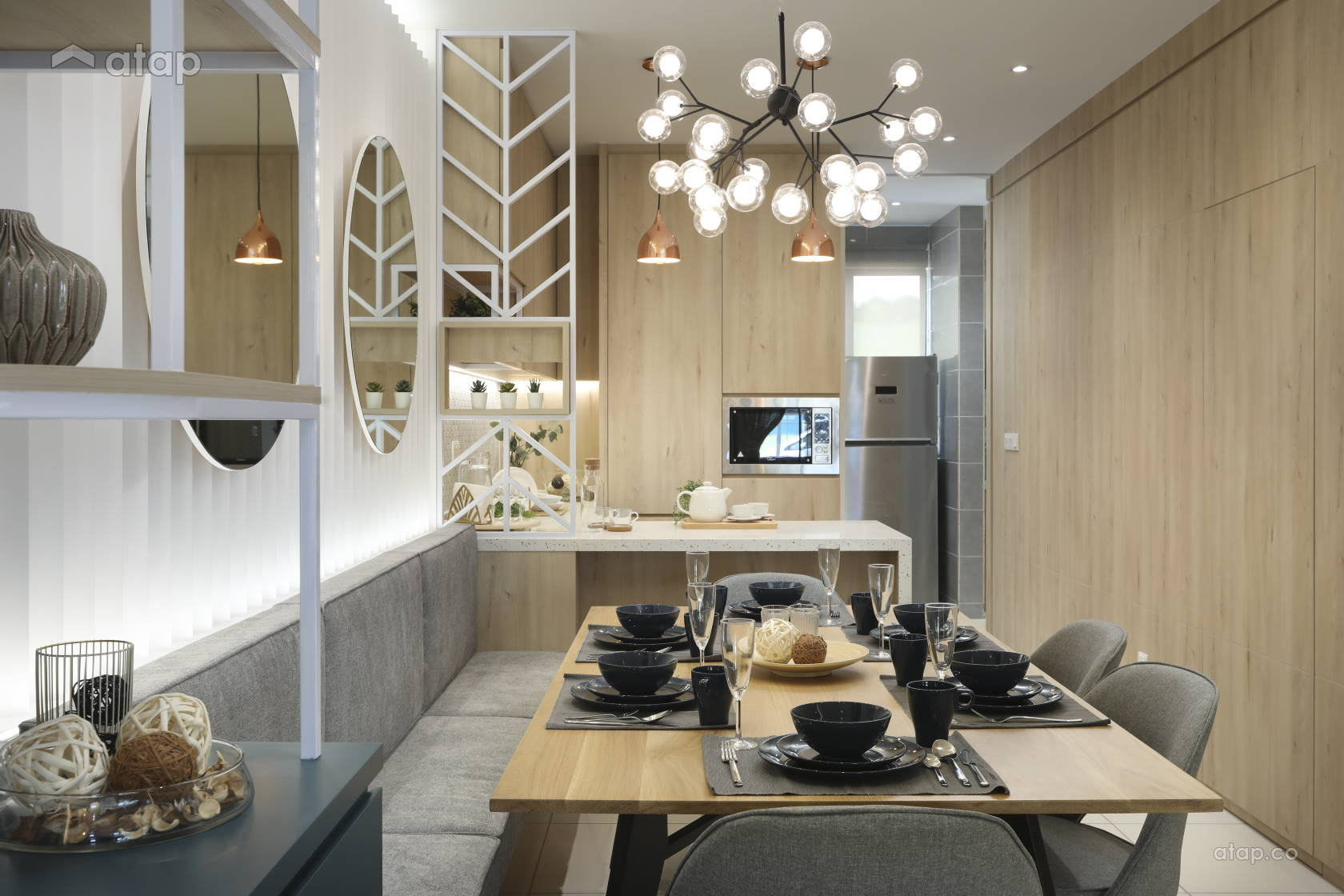 Contemporary Minimalistic Dining Room Kitchen @ IJM Land Show Unit at Seremban 2