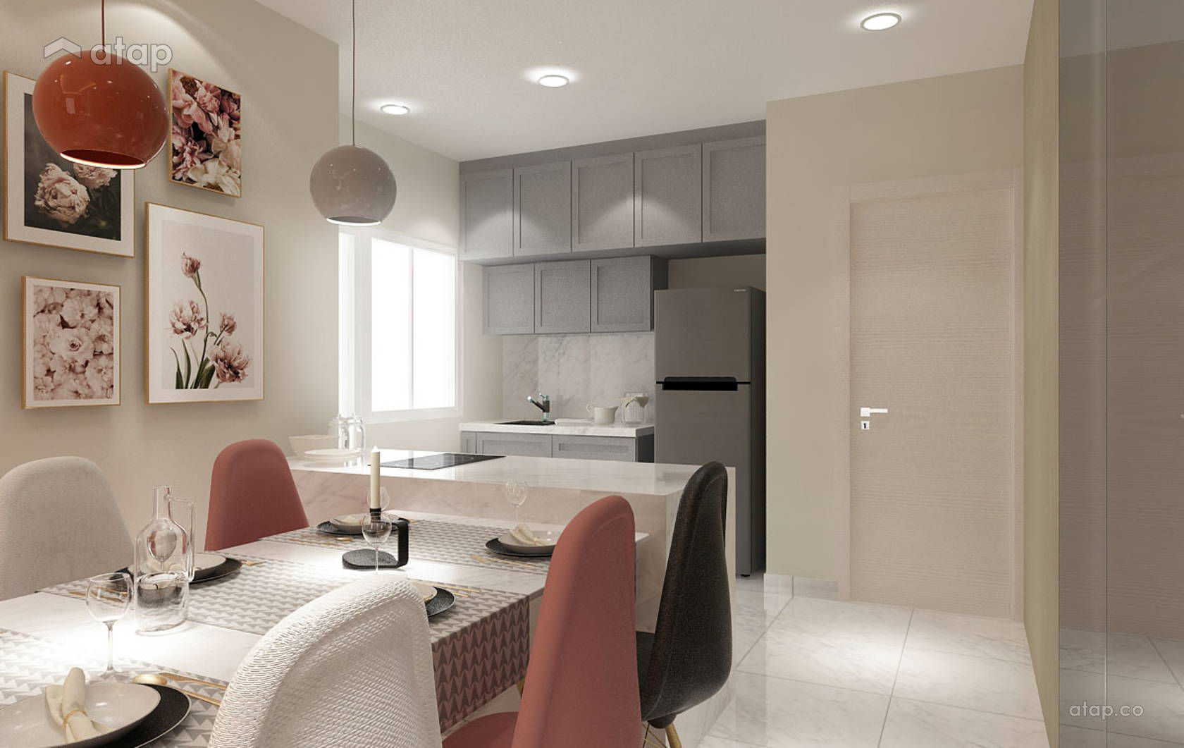 Classic Modern Dining Room Living Room Apartment Design Ideas