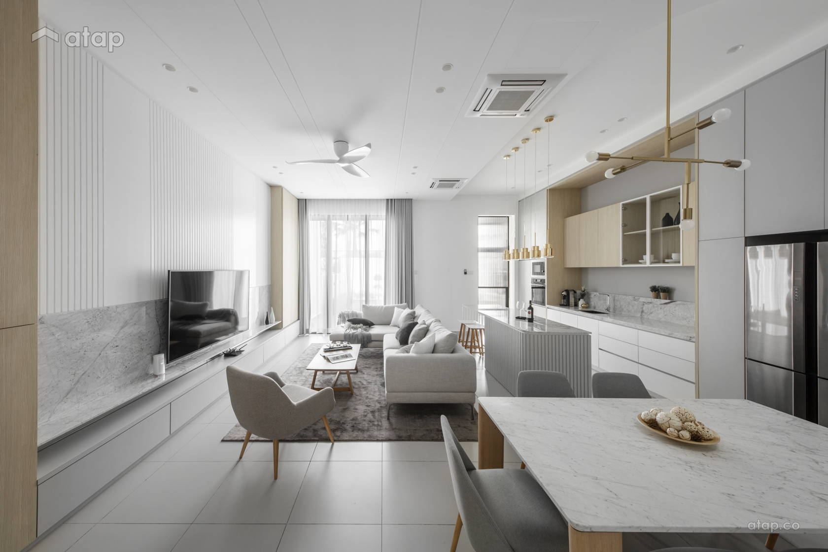 Contemporary Modern Dining Room Kitchen @ The Lighthaus - Andes Villa