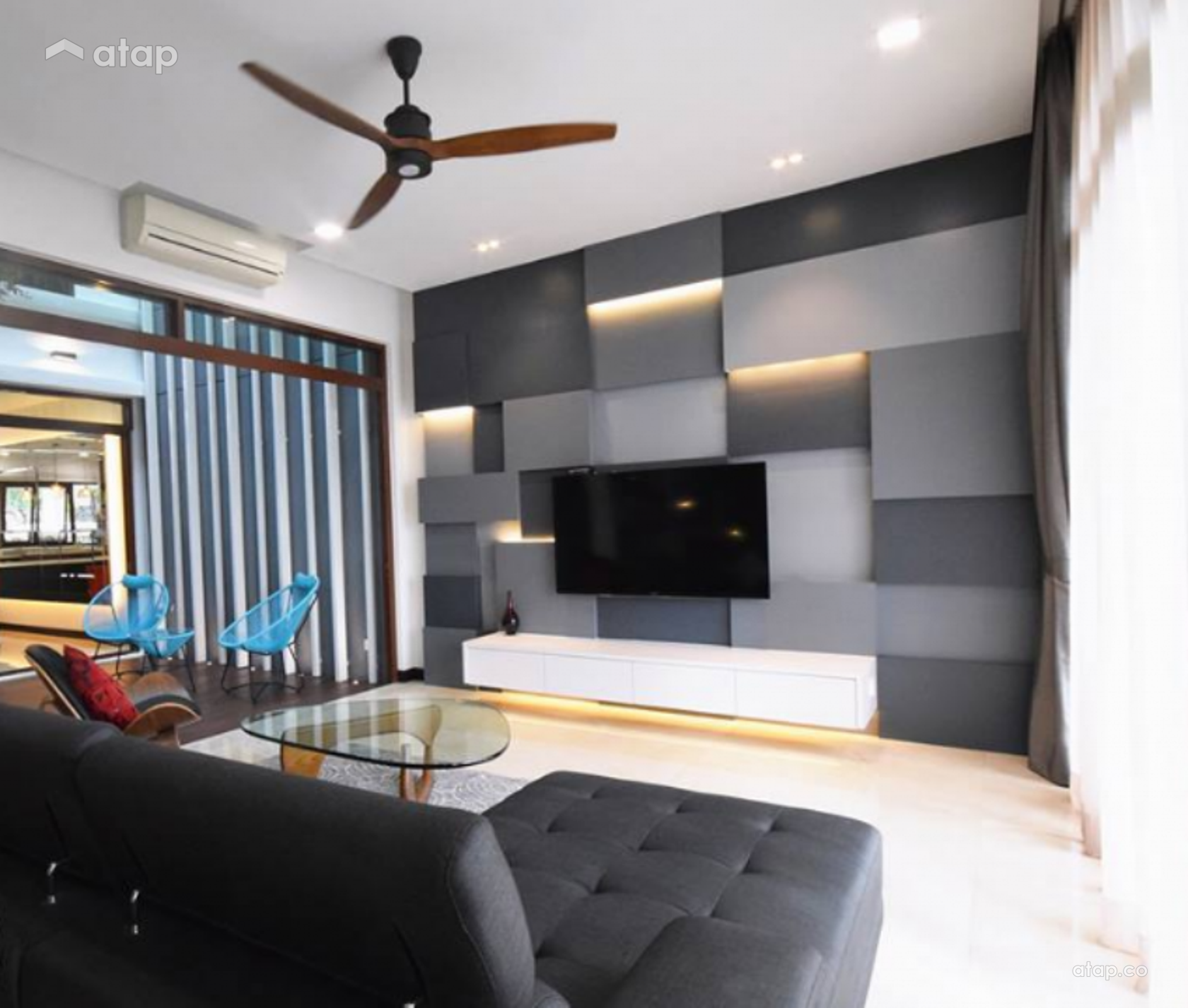 Contemporary Modern Living Room Semi Detached Design Ideas Photos Malaysia Atap Co