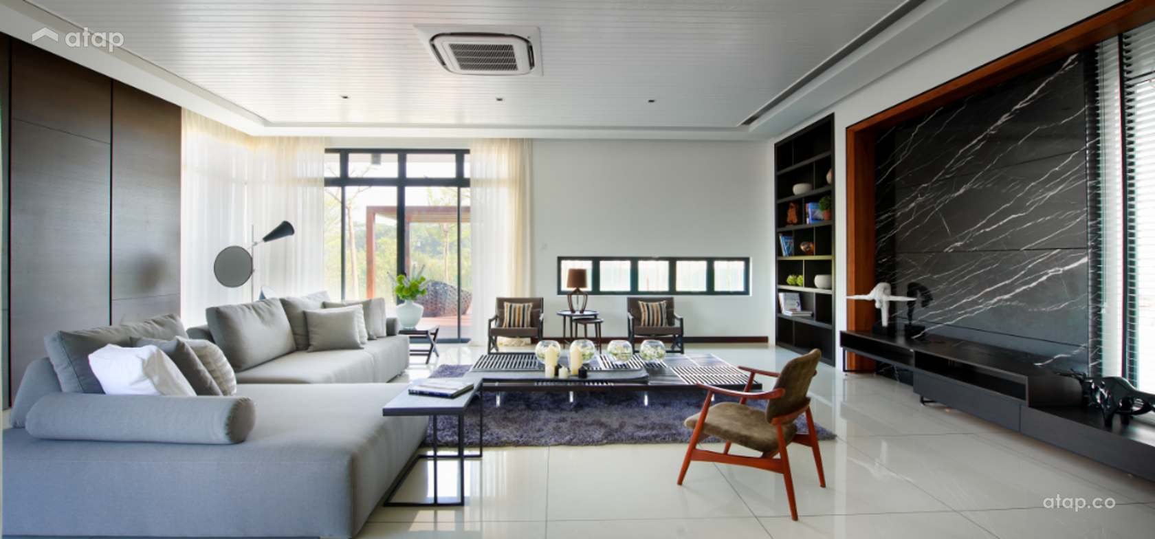 Contemporary Modern Living Room @ The Straits View Residences