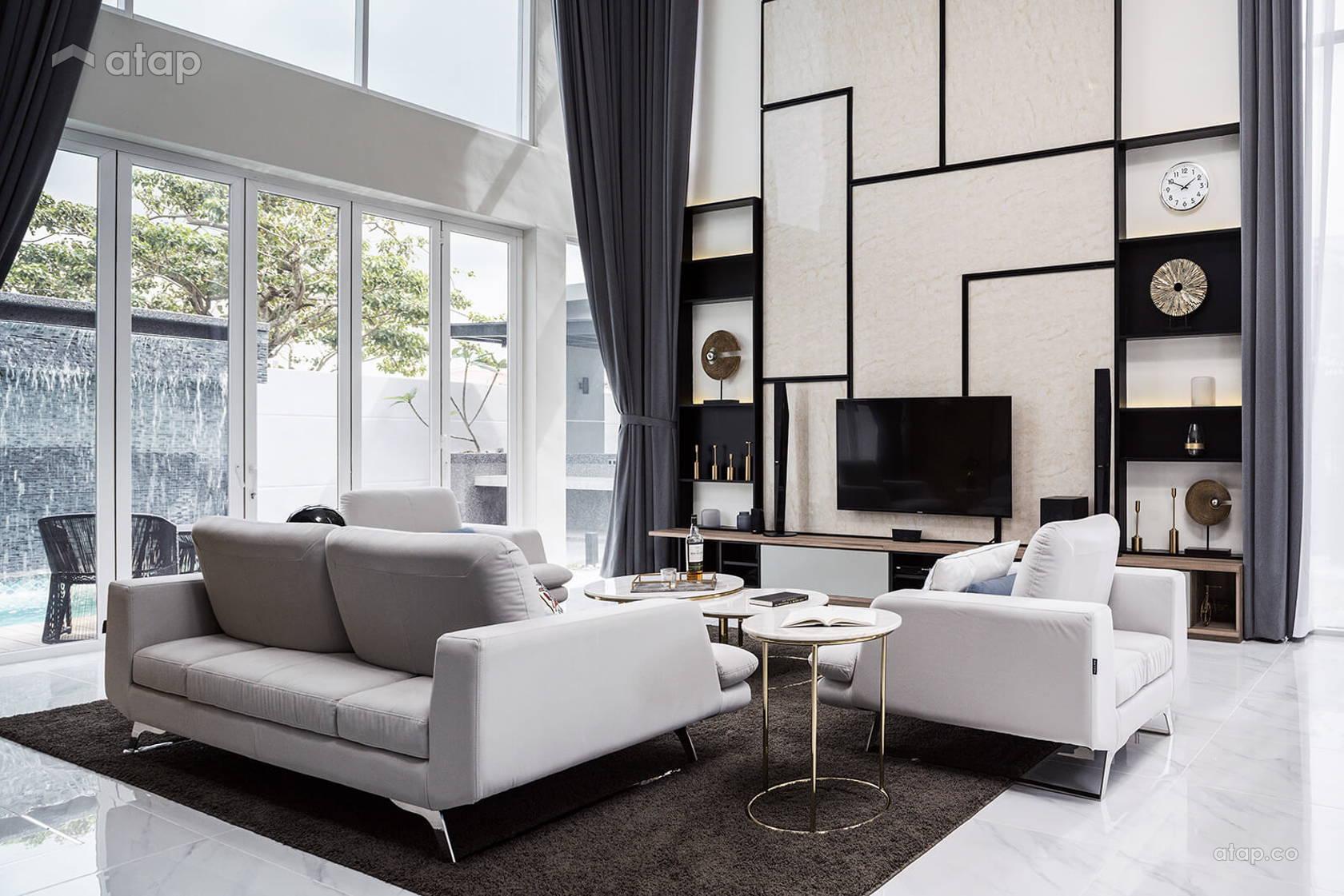 Exterior: Contemporary Living Room Bungalow Design Ideas & Photos