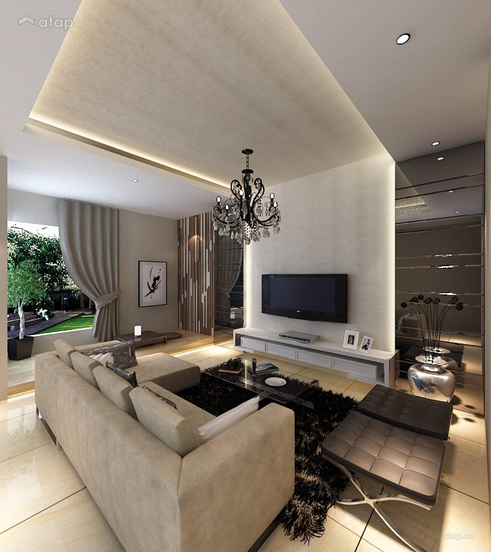 Contemporary Modern Living Room Semi-detached Design Ideas
