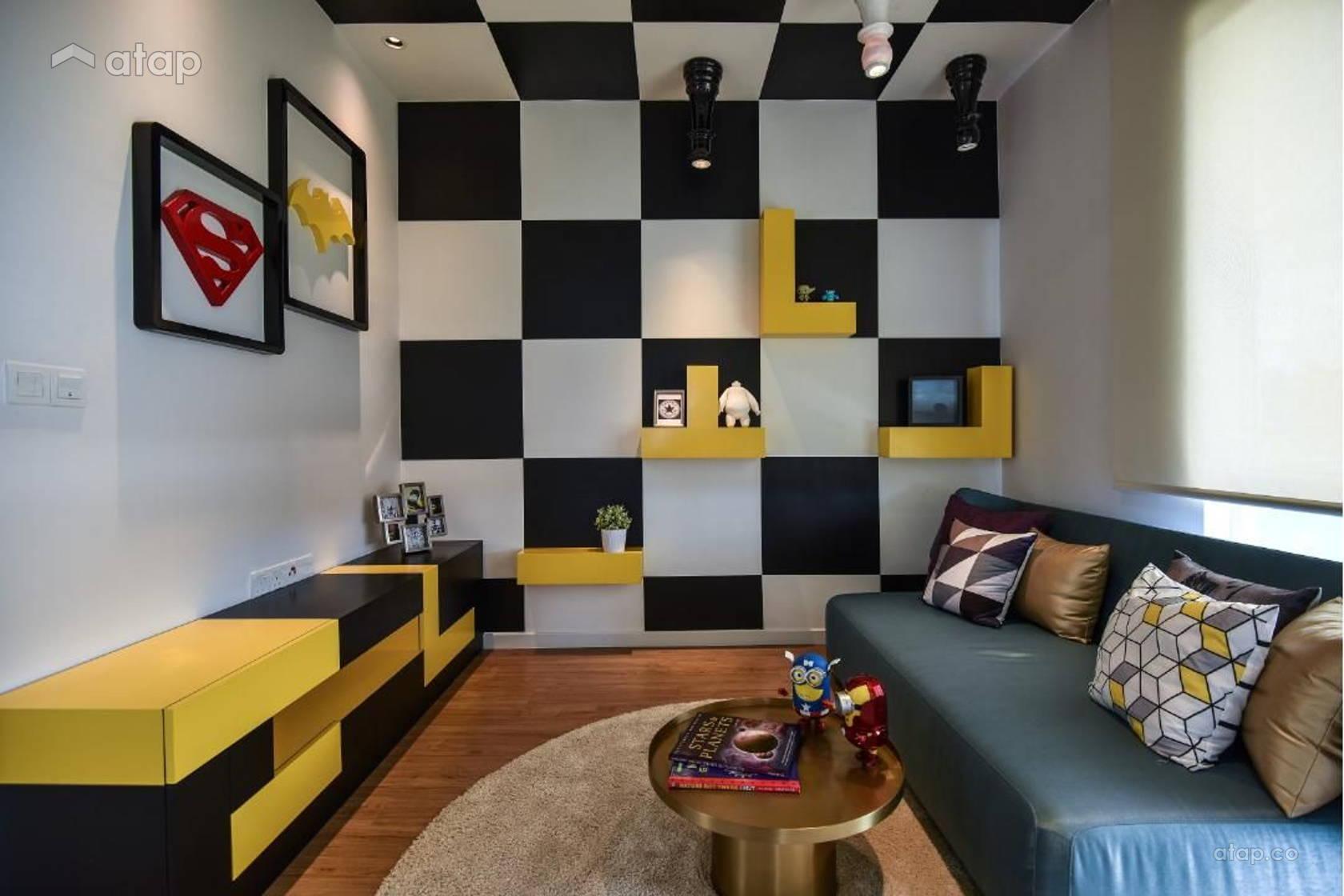 Retro Modern Living Room @ 2 Storey Link House