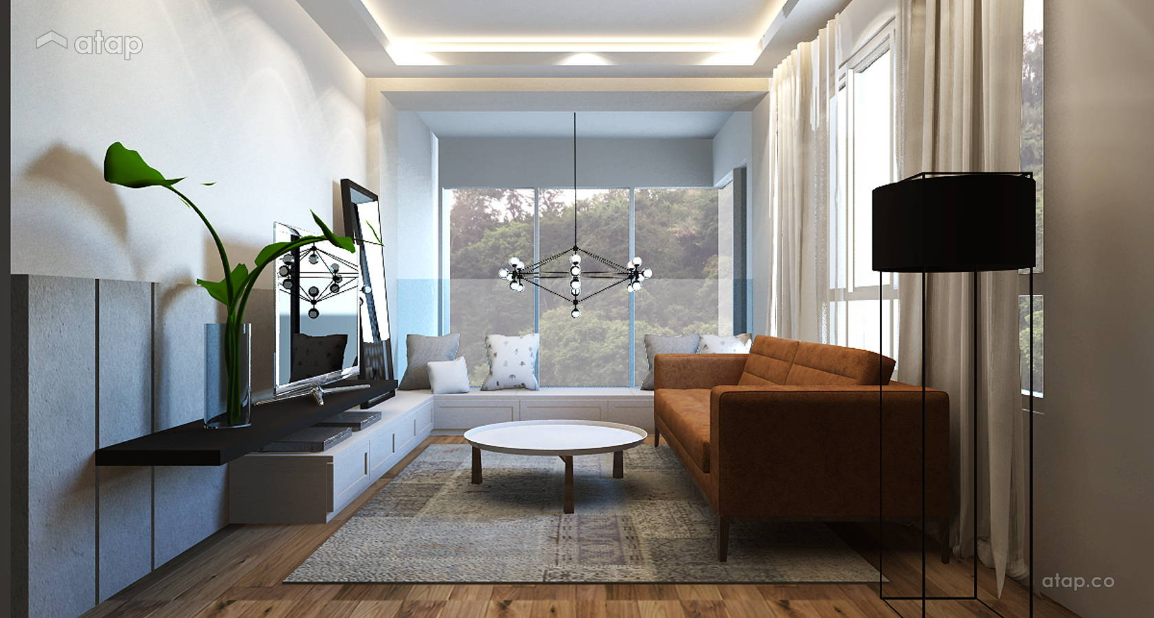 Modern Scandinavian Family Room Living Room @ Armanee Terrace (Scandinavian)