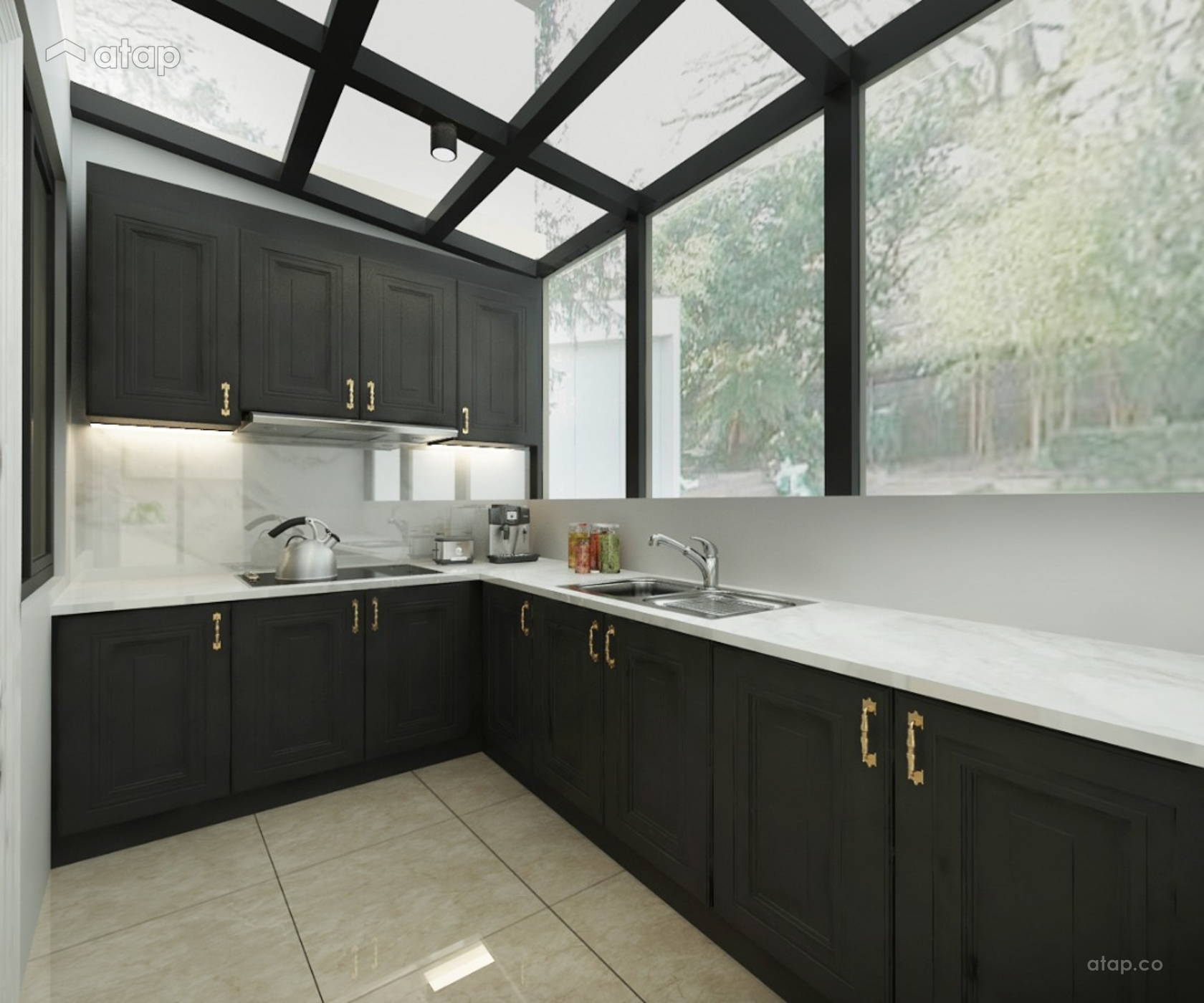 Classic Modern Kitchen @ 3 Storey Terrace House