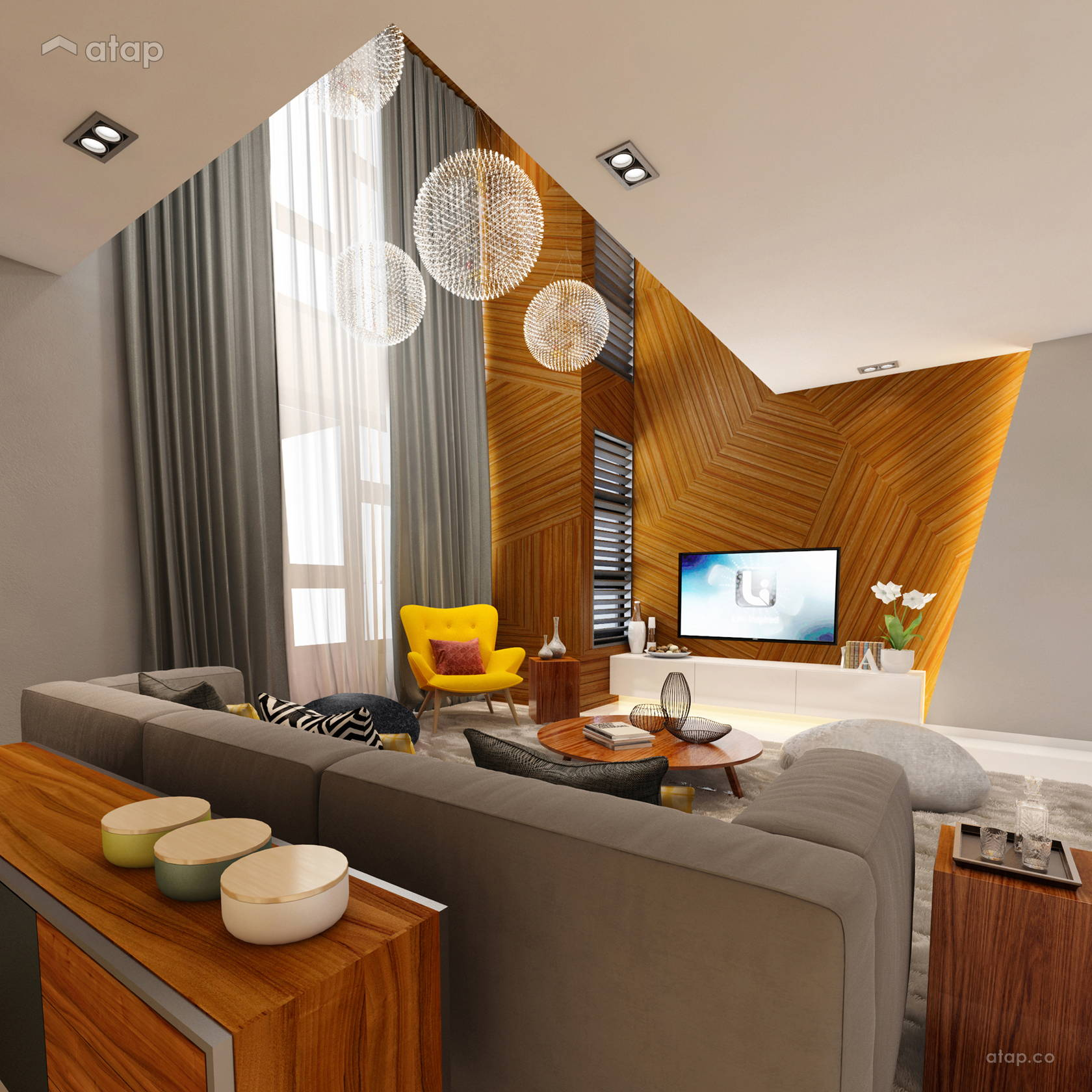 Retro Contemporary Living Room @ Aman Putri Show Unit