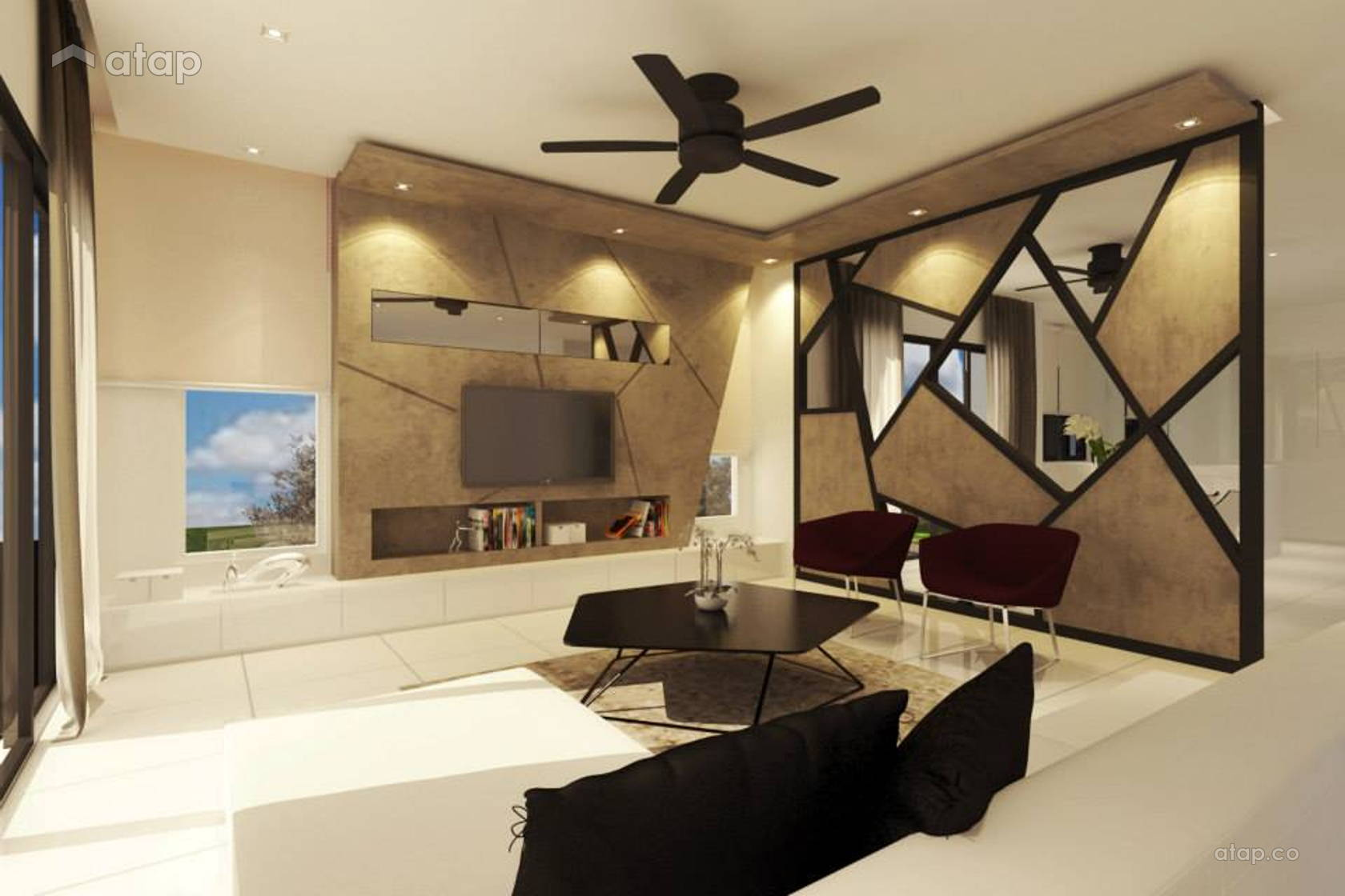 Contemporary Modern Living Room @ Mr. George Residence, Cyberjaya