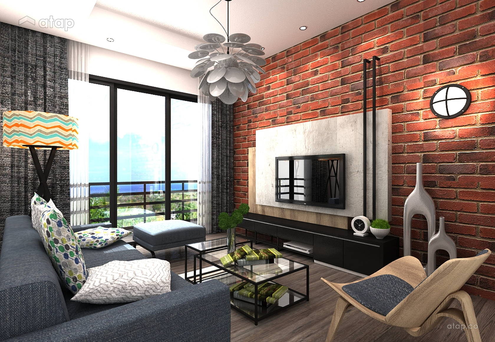 Industrial Modern Living Room apartment design ideas