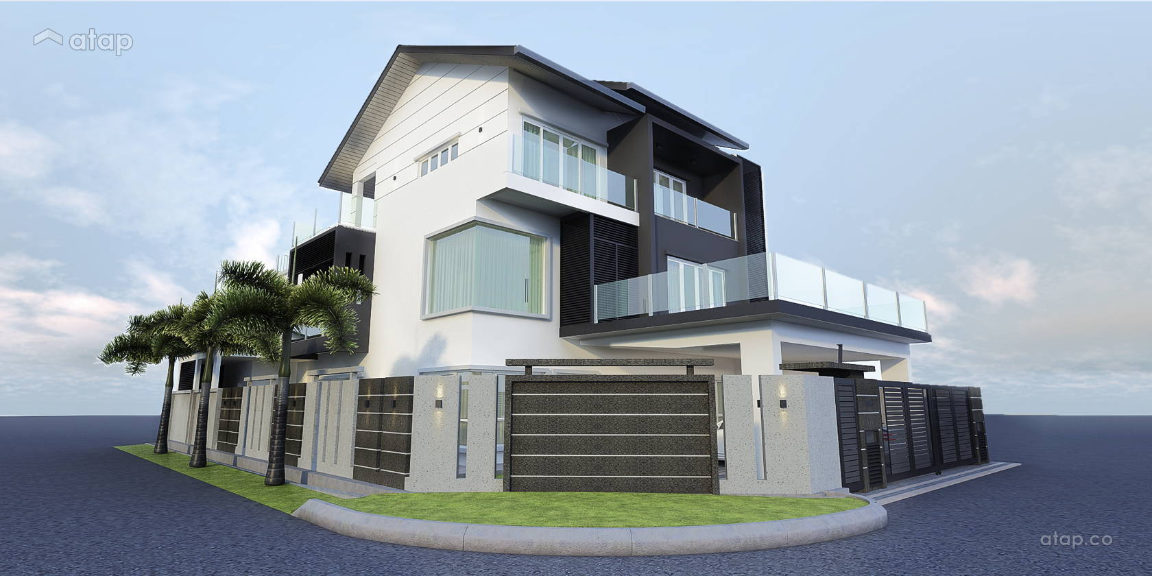 Contemporary Modern Exterior semi-detached design ideas ... on corner lot ranch house plans, corner lot duplex house plans, corner lot landscaping plans, corner lot house designs, corner lot log house plans, corner lot craftsman house plans, contemporary prairie house plans, corner lot pool plans,