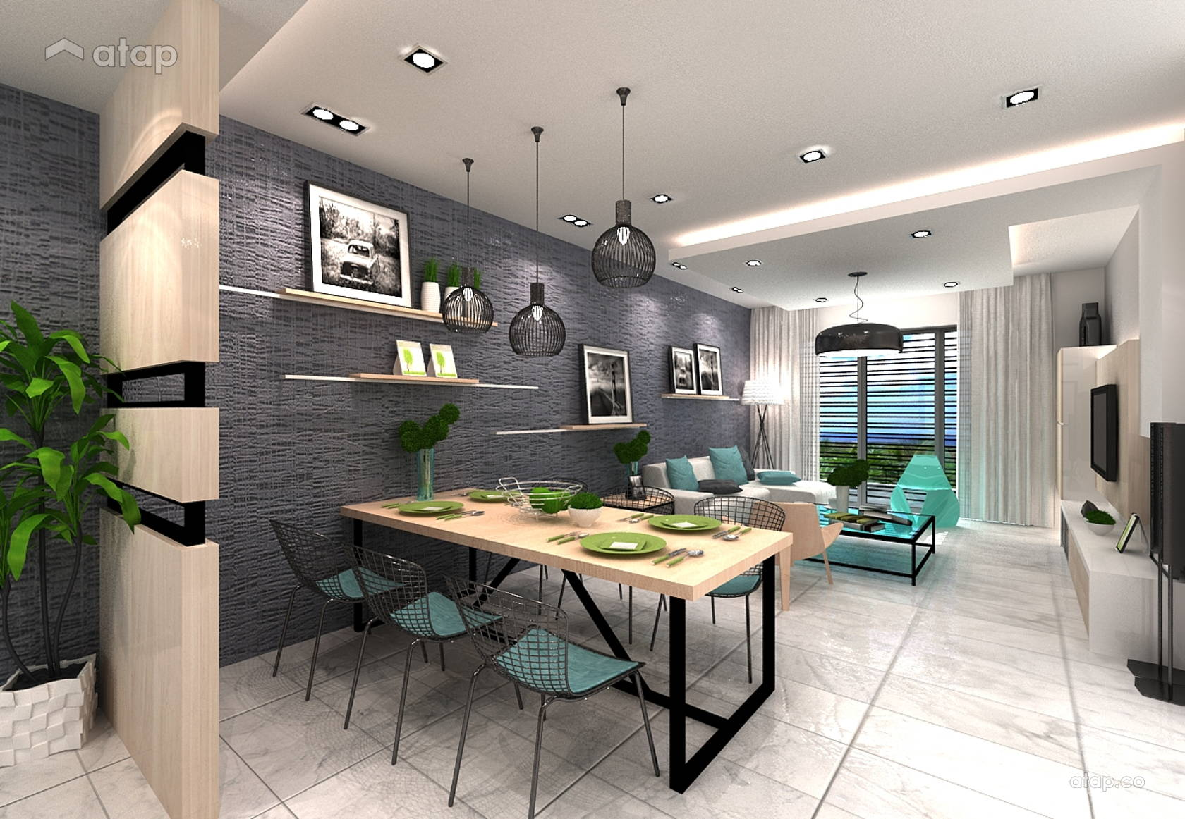 Modern dining room apartment design ideas photos - Modern small apartment design ...