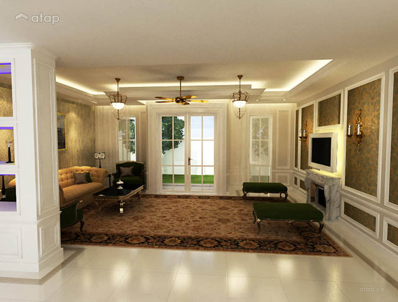 Contemporary Modern Living Room Bungalow Design Ideas Photos