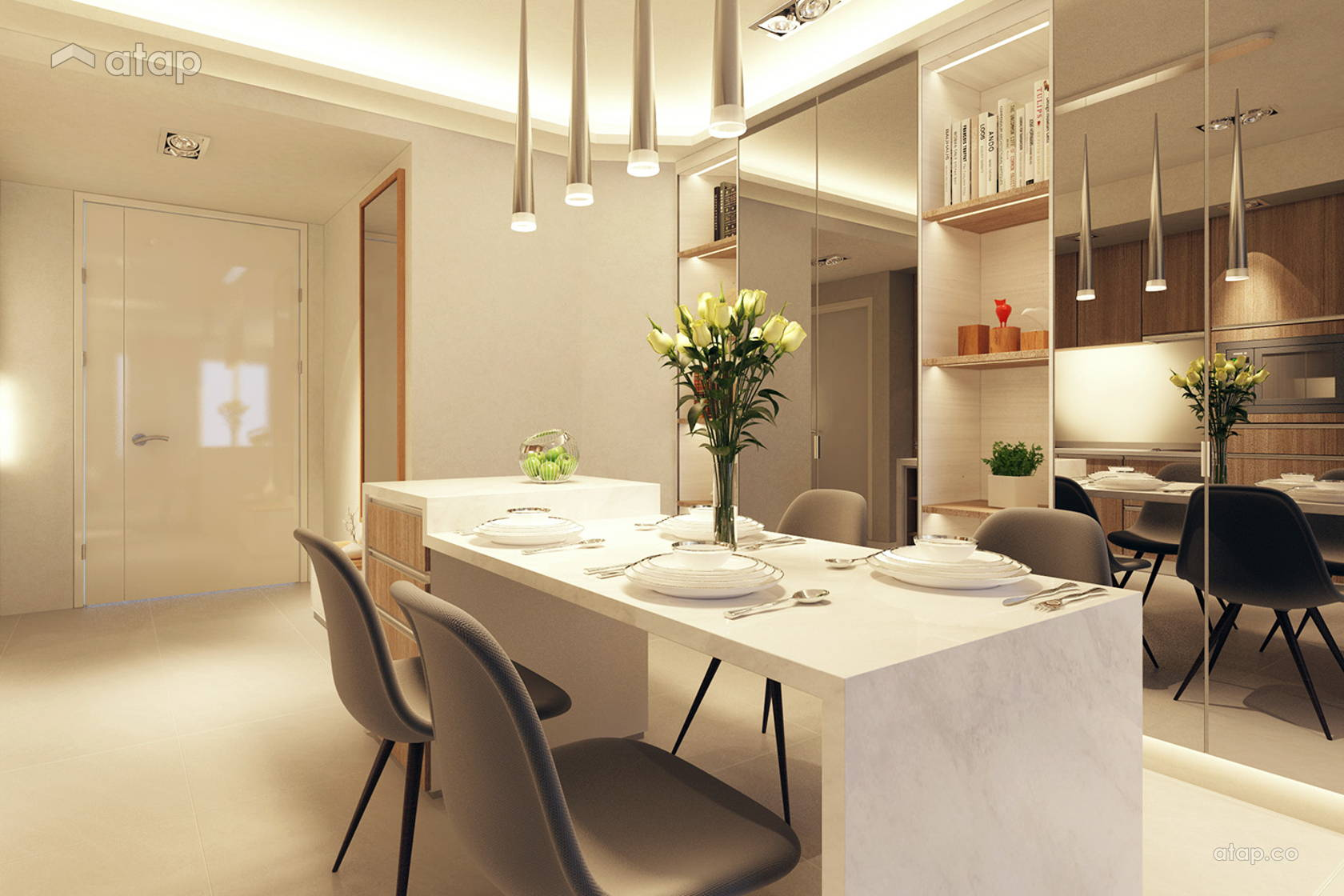 Asian Contemporary Dining Room Foyer @ AraGreens Residences (Type A1)
