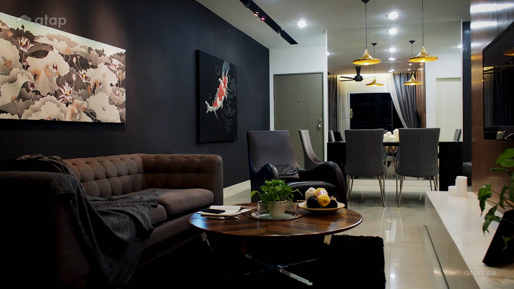 Contemporary Modern Living Room @ C RESIDENCE