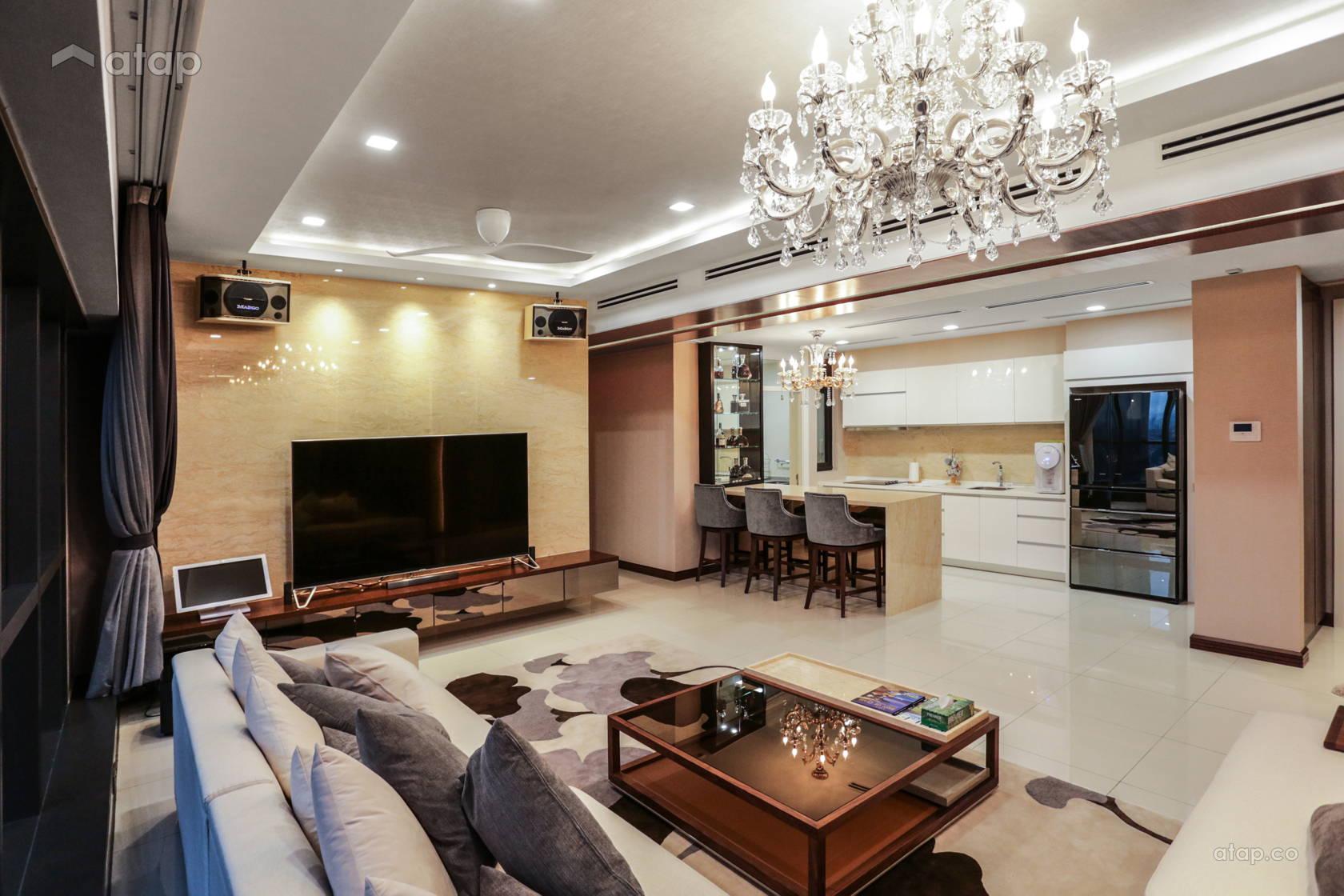 Classic Contemporary Family Room Living Room @ luxury condominium unit @ Icon City Condominium