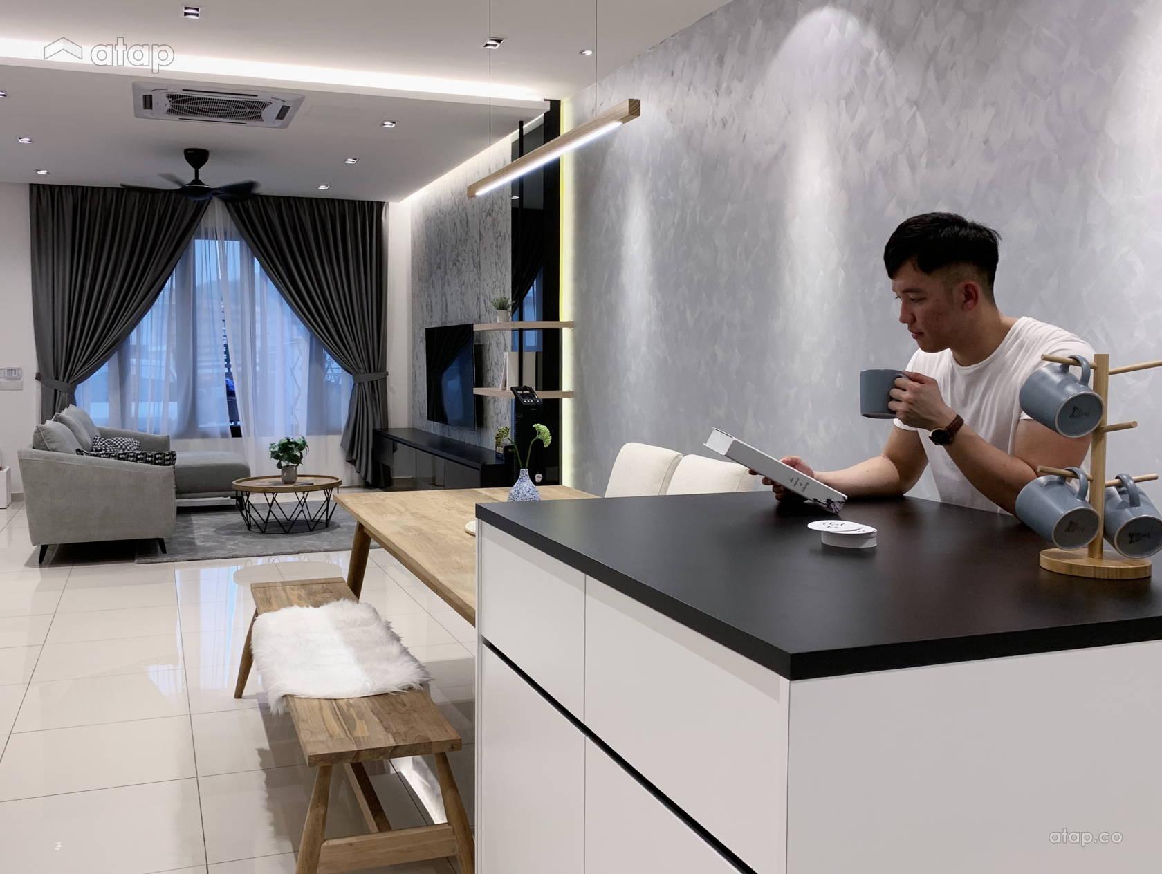 Contemporary Minimalistic Dining Room Living Room Terrace Design Ideas Photos Malaysia Atap Co