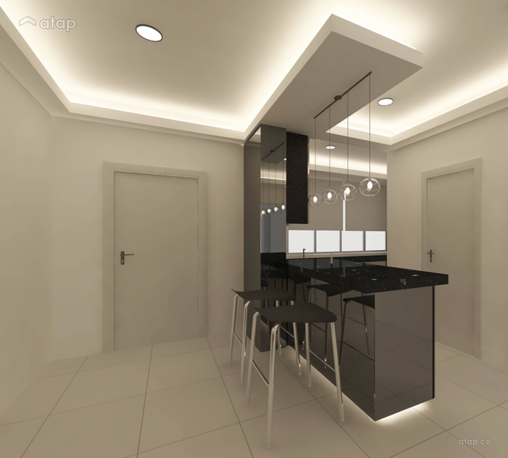 Contemporary Modern Dining Room Foyer @ V' Residence