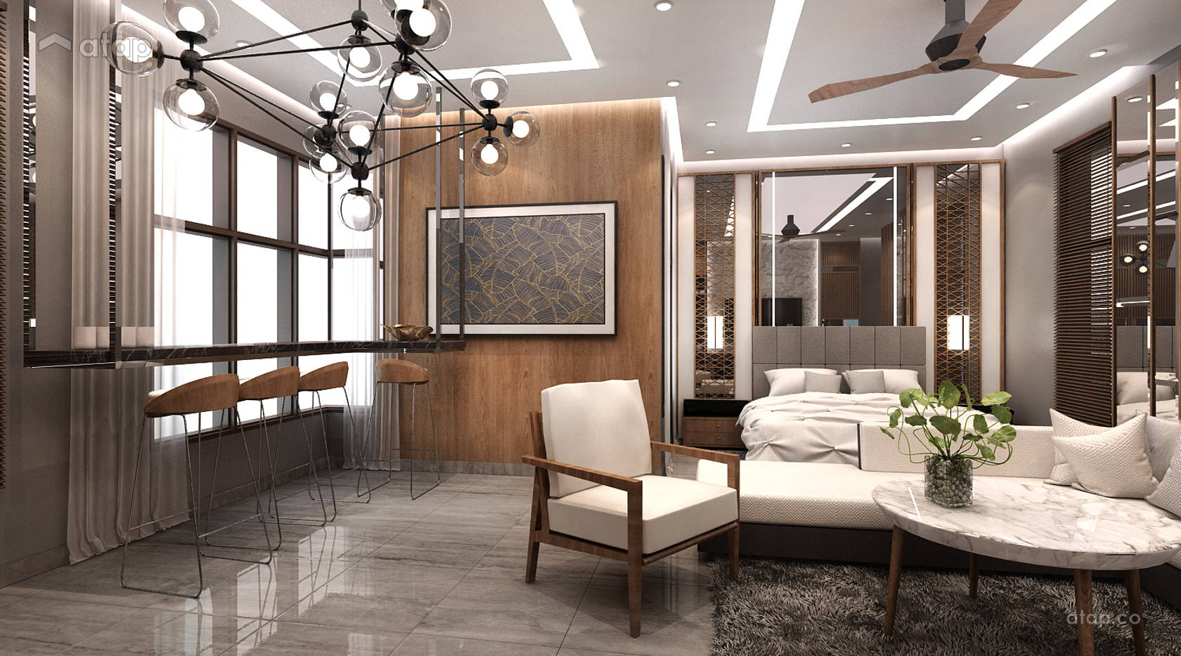 Contemporary Modern Bedroom Living Room @ Luxury Studio House @ 8 Kinrara  Share This Professional