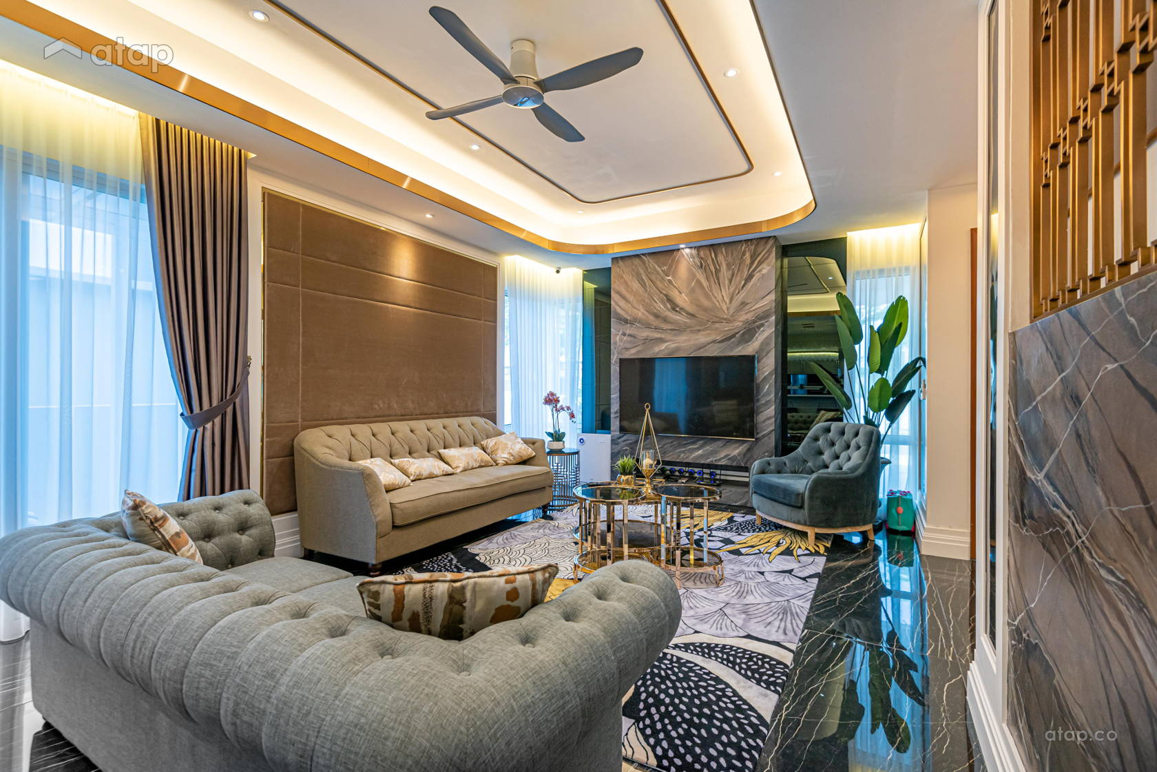 Classic Modern Living Room @ Dancing With The Stone @ Parkfield Residences, Tropicana Heights Kajang