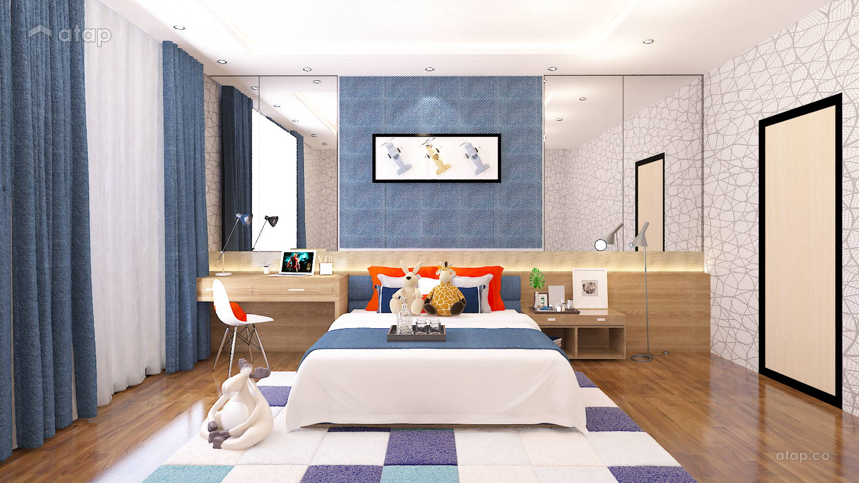 Contemporary Modern Bedroom @ Semi-Detached Residential