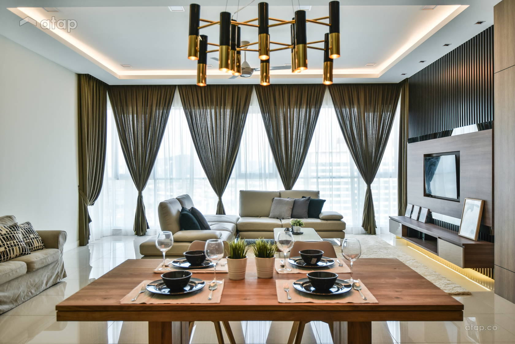 Contemporary Modern Living Room @ Uptown Residences