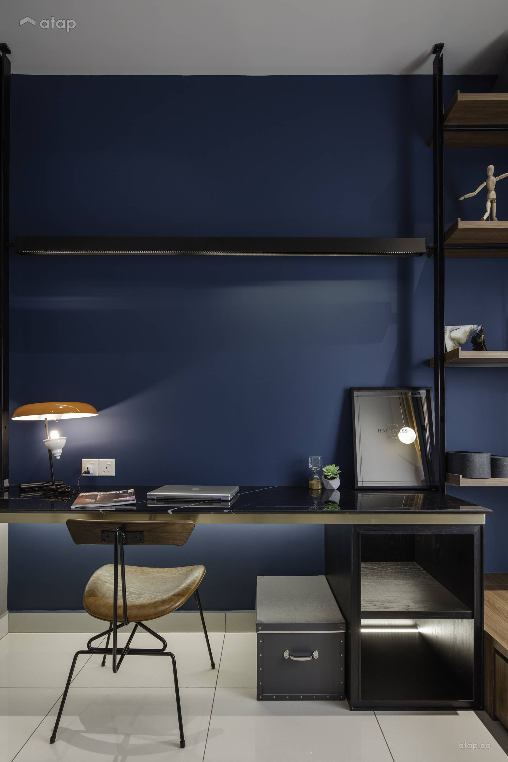 Condominium Study Room: Modern Rustic Office Study Room Condominium Design Ideas